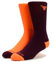 Fallen Solid Purple and Orange Mix Crew Socks