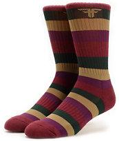 Fallen Stripe Maroon Crew Socks