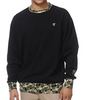 Famous Stars & Straps Blended Black Fleece Crew Neck Sweatshirt