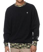Famous Stars & Straps Blended Black Fleece Crew Neck Sweatshirt