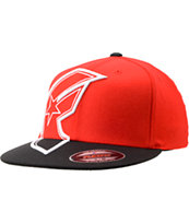 Famous Stars & Straps Giant Badge Red & Black FlexFit Hat