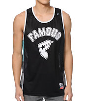 Famous Stars & Straps Stacked Black & Teal Mesh Jersey