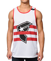 Famous Stars & Straps Strapped White, Red & Black Mesh Tank Top