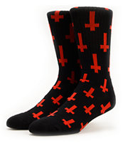 Flying Coffin Inversion Black & Red Crew Socks