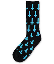 Flying Coffin Inversion Black & Teal Crew Socks