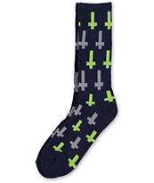 Flying Coffin Inversion Navy & Lime Crew Socks