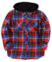 Fox Boys Dane Red Plaid Long Sleeve Hooded Flannel Shirt