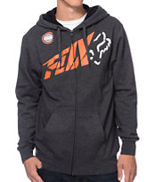Fox Riptide Charcoal Zip Up Fleece Hoodie
