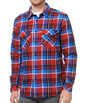 Fox Trent Red Woven Flannel Button Up Shirt