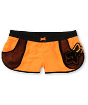 Fox Women's Vented Neon Orange & Black Board Shorts
