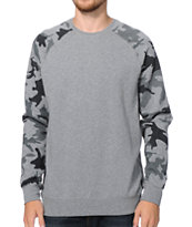 Fox Wreckage Grey Camo Crew Neck Sweatshirt
