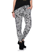 Free To Fly Black & White Abstract Print Challis Pants