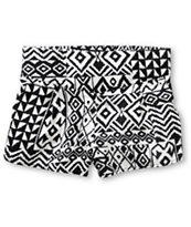 Free To Fly Black & White Tribal Print Challis Shorts