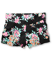 Free To Fly Black Floral Print Challis Shorts