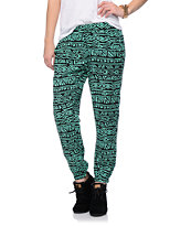 Free To Fly Mint & Black Tribal Print Challis Pants