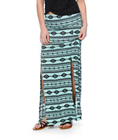 Free To Fly Mint & Black Tribal Print Maxi Skirt