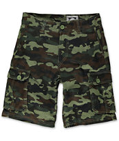 Free World Boys Camtastic Dark Green Camo Print Cargo Shorts