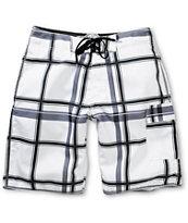Free World Laguna White Plaid Board Shorts