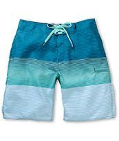 Free World North Shore Teal Stripe Board Shorts