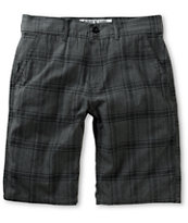 Free World Riley Charcoal Plaid Chino Shorts