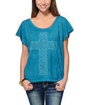 G Girl Cross Green Mineral Scoop Neck Tee Shirt