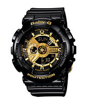 G-Shock BA110-1A Black & Gold Baby-G Girls Digital Watch