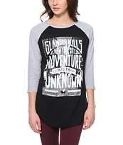 Glamour Kills Adventures Guild Black & Grey Baseball Tee Shirt