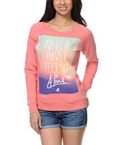 Glamour Kills Always Alive Coral Crew Neck Sweatshirt