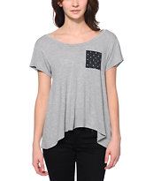 Glamour Kills Anchor Down Pocket Heather Grey Tee Shirt