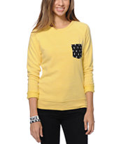 Glamour Kills Anchor Pocket Yellow Crew Neck Sweatshirt