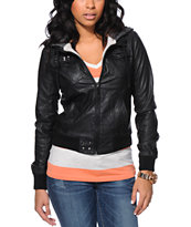 Glamour Kills Anchors Black Faux Leather Hooded Jacket