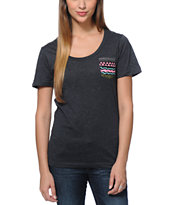 Glamour Kills Aztec Pocket Charcoal Tee Shirt