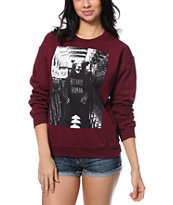 Glamour Kills Bearly Human Cranberry Crew Neck Sweatshirt