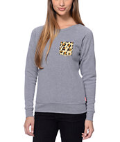 Glamour Kills Cheetah Pocket Grey Crew Neck Sweatshirt