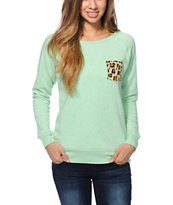 Glamour Kills Cheetah Pocket Mint Crew Neck Sweatshirt