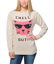 Glamour Kills Chill Out Oatmeal Knit Sweater