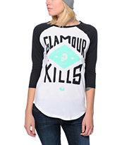 Glamour Kills Crest Logo Black & White Baseball Tee Shirt