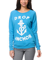 Glamour Kills Drop Anchor Teal Crew Neck Sweatshirt