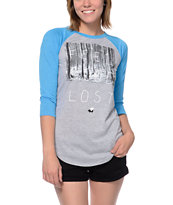 Glamour Kills Feel Good Lost Grey & Blue Baseball Tee Shirt