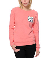 Glamour Kills Forever Pocket Coral Crew Neck Sweatshirt