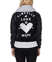 Glamour Kills Girls Young Love Black Faux Leather Hooded Jacket