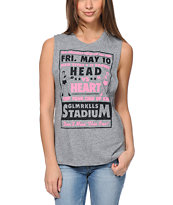 Glamour Kills Head Vs Heart Grey Muscle Tee Shirt