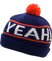 Glamour Kills Hell Yeah Blue & Red Pom Fold Beanie