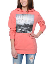 Glamour Kills Keep Breathing Coral Pullover Hoodie