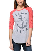 Glamour Kills Land Locked Red & Grey Baseball T-Shirt