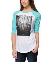 Glamour Kills Let's Get Lost White & Mint Baseball Tee Shirt