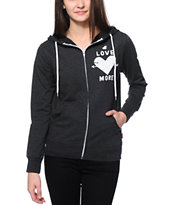 Glamour Kills Love More Heather Black Zip Up Hoodie