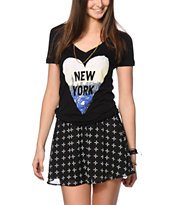 Glamour Kills Never Leave NYC V-Neck Tee
