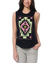 Glamour Kills Ornamental Black Cut-Off Tank Top