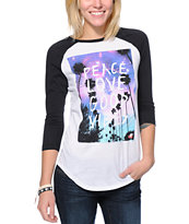 Glamour Kills Peace Love Good Vibes White Baseball Tee Shirt